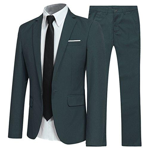 Traje de 2 piezas para hombre compuesto por chaqueta y pantalones, ajuste estrecho, para boda, cena,negocios, casual, disponible en 10 colores Verde verde oscuro Large