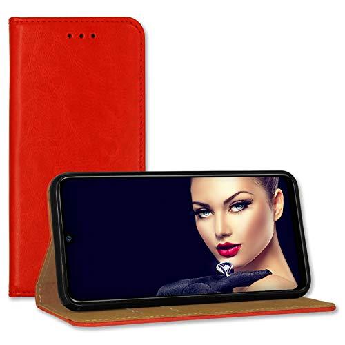 mtb more energy® Leder-Tasche Bookstyle für Samsung Galaxy A52 4G, A52 5G (6.5'') - rot - Echtleder - Schutz Hülle Wallet Cover Hülle