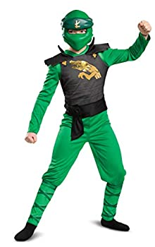 Disguise Lloyd Costume for Kids Classic Lego Ninjago Legacy Themed Children s Charcter Jumpsuit Child Size Large  10-12  Green & Black  106569G