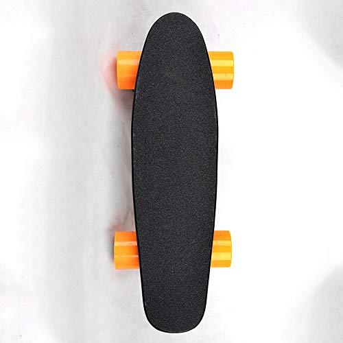 XLY Campus Elektrisch skateboard, 300 W, motoren, Youth skateboard met afstandsbediening, maximumsnelheid 15 km/u, 10 ° klimvermogen, met vier wielen, oranje