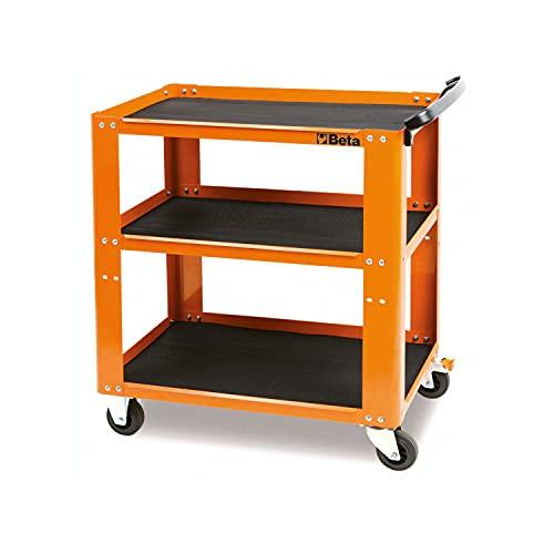 Beta C51-G Werkzeugwagen (Leerer Werkstattwagen für Werkzeug, Werkbank mit ergonomischem Griff, doppelte Befestigungsmöglichkeit, hochwertige und stabile Materialien aus Italien), Orange