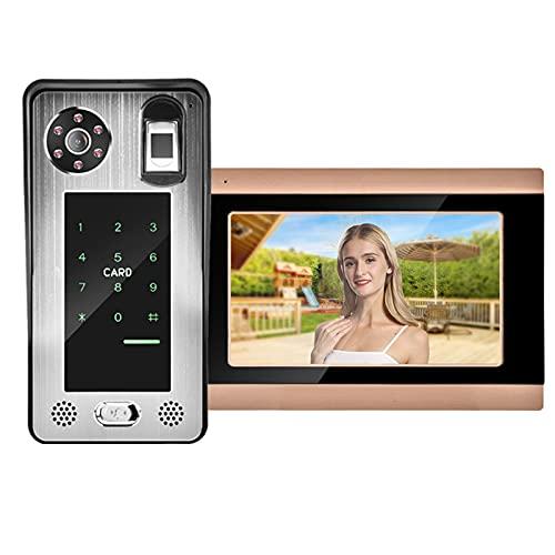 Video campanello, videocitofono 7In HD LCD Fingerprint per appartamento per villa per ufficio(Norma europea (100-240v))