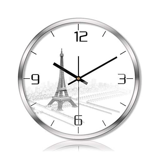 PLOP Reloj Pared 12/14 / 16inch Torre Eiffel silenciosa del Reloj del Movimiento del Cuarzo del Reloj de Pared con Pilas for la Oficina en casa de Cocina de los niños Decoración de la Habitación