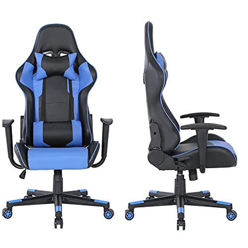 Gaming-Bürostuhl / Drehstuhl mit verstellbarer Rückenlehne, aus PU-Stoff, Blau