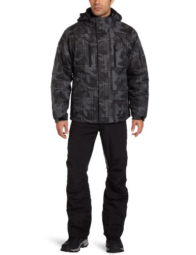 Free Country Men's Camouflage Print Snowboard Jacket, Grey Combo, X-Large