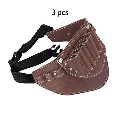 Faltriquera para Tijeras de Peluquería 3 piezas de cuero de Brown del estilo del pelo Tijeras Herramientas clips de peluquería bolsa de transporte de la bolsa del organizador del bolso de tijera de ti
