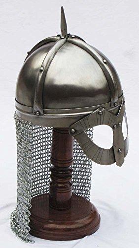 Shiv Shakti Enterprises Casco medieval Gjermundbu Norman Viking Spectacle Armour con cadena y soporte de madera