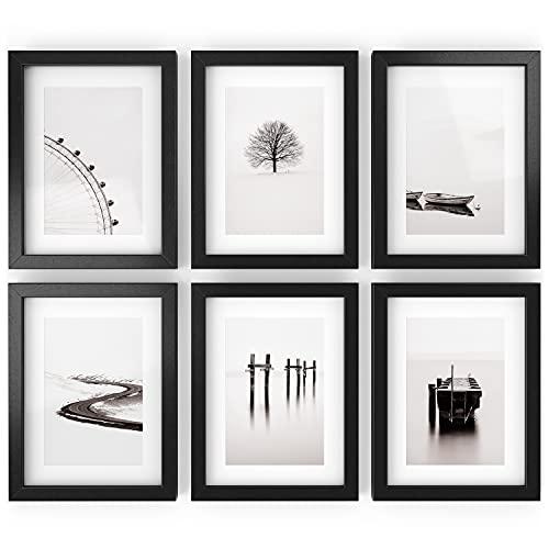 Arteza Marcos de fotos   15,2 x 20,3 cm (10,2 x 15,2 cm con recuadro)   Paquete de 6   Marcos con acabado en madera   Cristal transparente  Marcos de fotos múltiples para pared y escritorio