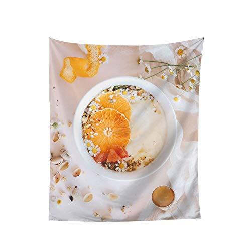 Tapiz de café naranja para colgar en la pared, decoración del hogar, cortina para dormitorio, collage dormitorio, oficina, 60 x 51 pulgadas
