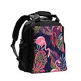 Cambiador de bolsas Organizador Hermoso Vector transparente Tropical Rosa Bolsa de pañales Mochila Mochila de viaje multifunción con pañal Almohadilla para el cuidado del bebé