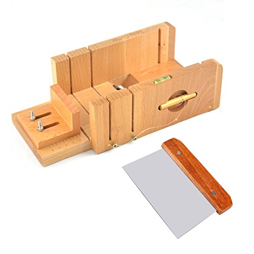 Ogrmar Multi-Function Practical Adjustable Bamboo Soap Cutter Soap Making Tools with Soap Beveler/Planer Set (Brown)