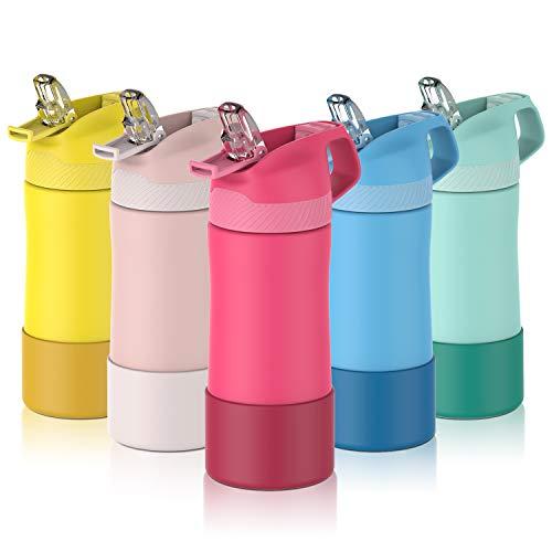 FJbottle Botella de Agua con Pajita Acero Inoxidable 400ml, Aislamiento de Vacío de Doble Pared, Botellas de Frío Caliente, sin bpa Botella Reutilizable