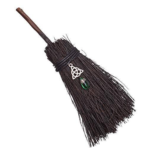 BLESSUME Witch Altar Broom Pentacle Mini Wizard Broom Pentagram/Celtic Knot Divination Ornament (Celtic Knot & Green Pendant)