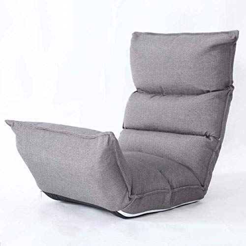 WSJTT Bean Bag Chairs, Chaise Lounges, Foam Floor Chair,Lounge Sofa Bed Folding 5-Position Adjustable High-Back Floor Chair (Color : Gray)