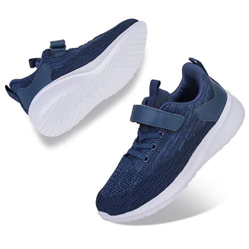ALCHARM Zapatillas de deporte para niños, zapatillas de deporte, zapatillas de interior, ligeras, transpirables, zapatillas de correr, para niños y niñas, 021 Navy Blue, 24 EU