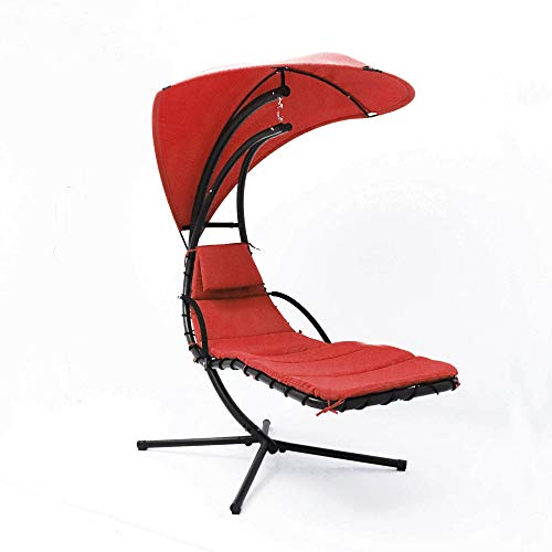 ABBLE Hanging Floating Chaise Lounger with Stand, Hammock Chair,Non-Adjustable, Removable Umbrella, Textilene,Comfortable,Durable,Steady,with Cushions, Pillow and Canopy-Red