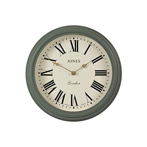 JONES CLOCKS, The Venetian, Reloj de Pared de Cuarzo en diseño clásico Mate y Esfera de Color Crema Cocina, Sala de Estar/Comedor u Oficina. (Verde/Números Romanos)