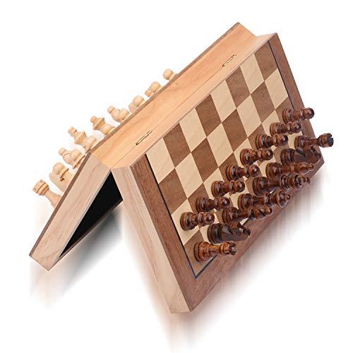 ColorGo Juego de ajedrez magnético de Madera con Tablero de ajedrez Plegable, 11.5x11.5 Pulgadas, Juego de ajedrez portátil de Madera para niños y Adultos, Incluye Reinas Extra