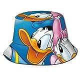 Bucket Hat Donald Duck and Daisy Bucket Sun Hat para Hombres Mujeres -Protección Gorra de Pescador de Verano Empacable para Pesca, Safari, Paseos en Bote en la Playa Negro