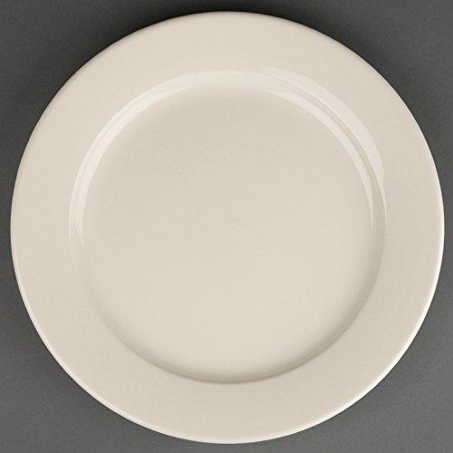 12 x Olympia Ivoire Large cerclé Service Assiettes en porcelaine 250 mm Restaurant
