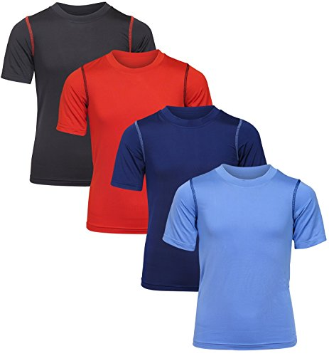 Black Bear Boy's Performance Dry-Fit T-Shirts (4 Pack), Light Blue/Navy/Black/Red, Medium/8-10