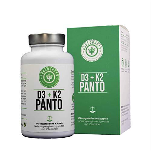 Der Premium D3-K2-B5-Komplex von ADDEDGREEN mit besonders VIEL K2 für eine optimierte Wirksamkeit 180 vegetarische Kapseln mit je 50µg D3, 150 µg K2 (All-Trans MK7) und 6mg Pantothensäure