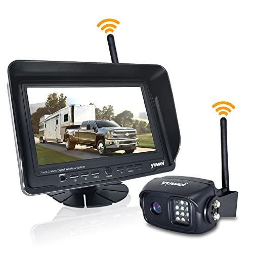 Digital Wireless Backup Camera System Kit, IP69K Waterproof Wireless Rear View Camera 7'' LCD Wireless Reversing Monitor for Trailer, RV, Bus, Trucks, Horse-Trailer, School Bus, Farm Machine,etc