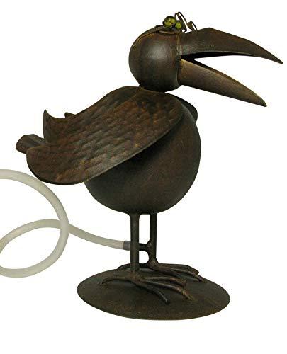 Gartenzaubereien Wasserspeier Vogel Paul mit Solarpumpe