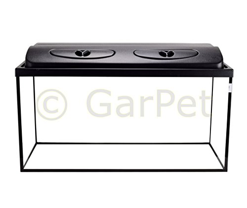 GarPet Aquarium rechteckig mit Abdeckung inkl. LED Beleuchtung im Set (80x35x40 + Abdeckung LED)
