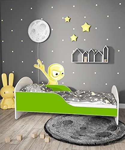 Children's Beds Home - Cama individual Cosmo - Para niños niños pequeños - Tamaño 160 x 80, Color Verde, Cajón Grande Individual, Colchón 12 cm de Alta Resistencia Colchón de Espuma