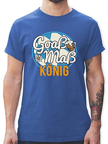 Oktoberfest Herren - Goaß Maß König - XL - Royalblau - Bier - L190 - Tshirt Herren und Männer T-Shirts