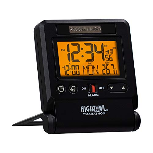 Marathon Atomic Travel Alarm Clock with Auto Back Light Feature, Calendar and Temperature. Folds into One Compact Unit for Travel - Batteries Included - CL030036BK (Black)