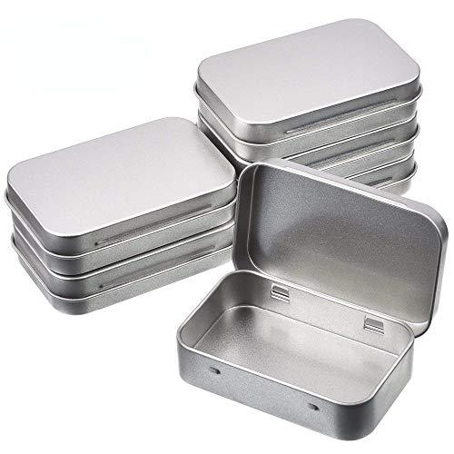 6 piezas de supervivencia Kit de lata pequeña vacía de metal plateado caja de almacenamiento con tapa organizadora para monedas y llaves de caramelos.