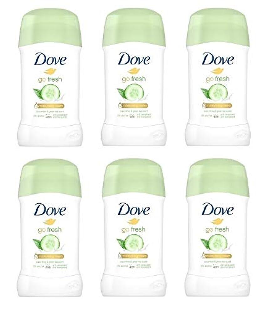 のスコア包帯セールスマン(6パック) ドーブ新鮮になきゅうりそして緑茶香り制汗剤デオドラントスティック女性の為に - (Pack of 6) Dove Go Fresh Cucumber & Green Tea Scent Anti-perspirant Deodorant Stick for Women 6x40ml