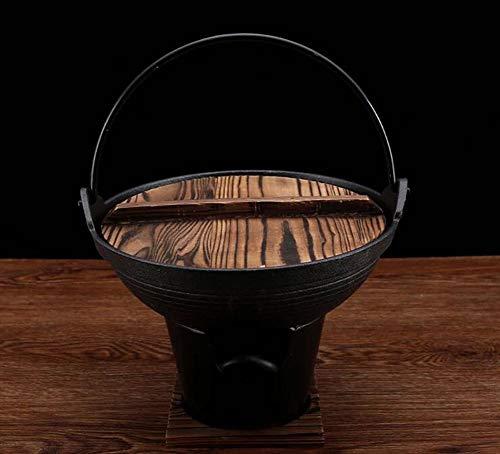 Gusseisen Topf, Sukiyaki Topf Japanische Art Suppentopf starke untere Uncoated Gusseisen Herd Multisuppentopf Sukiyaki Kochgeschirr Sukiyaki Hot Pot unbeschichtetem Antihaft-Pfanne aus,20cm