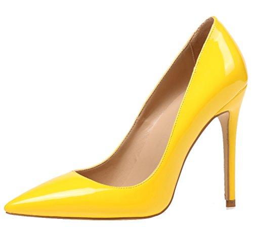 AOOAR Damen High Heel Klassische Gelb Lackleder Büro Pumps EU 43