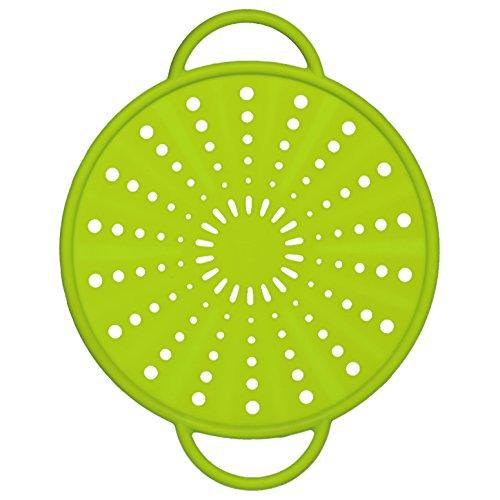 Emsa 514556 - Coperchio Smart Kitchen in silicone/acciaio inossidabile, 5 in 1, 21 cm, colore: verde