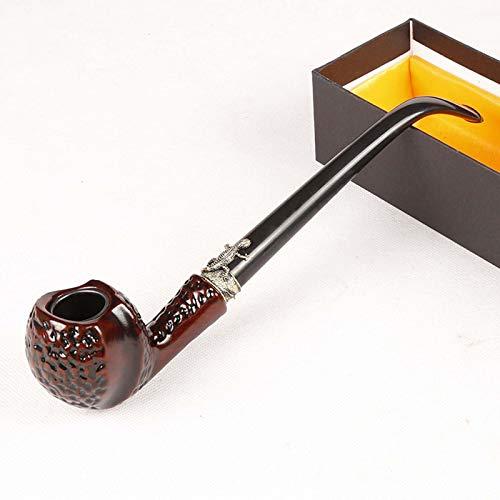 Tubo de fumar tabaco de madera, tubo de tabaco de palisandro, tubo de fumar de madera profundo y a prueba de viento con soporte para tuberías, accesorios para fumar y envuelto con caja de regalo,Cz652