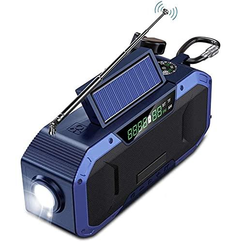 Crank Radio Dynamo Radio, Radio Solar con Am/FM, batería Recargable incorporada de 5000 mAh, Linterna LED de 4 Modos, luz de Lectura LED, Alarma SOS para emergencias en el Exterior
