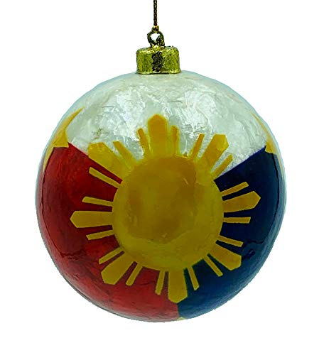GUTZ Tree Ornament Collection, Filipino Bandilla Sun & Stars from Philippine Flag Handcrafted Capiz (4' diameter)
