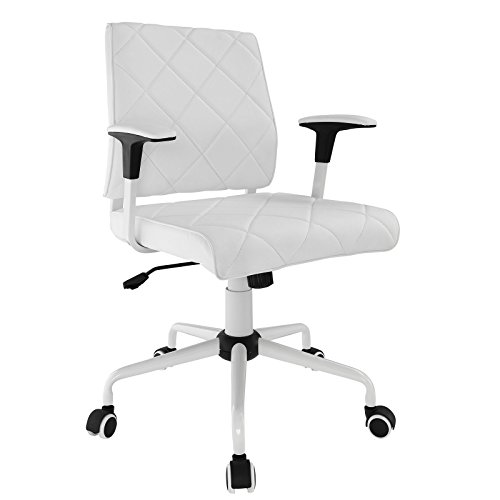 Modway Lattice Modern Faux Leather Mid Back Computer Desk Office Chair In White