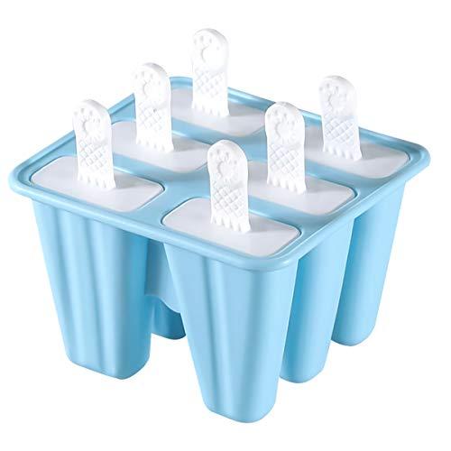 NATUCE 6PCS Blau Eisformen EIS Am Stiel Silikon, Eisformen Silikon, Eisförmchen Popsicle Formen, Wiederverwendbar Eisformen Popsicle Formen Set, Eisform Silikon, Spülmaschinenfest - BPA Frei