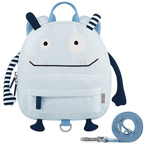 GAGAKU Kinderrucksack mit Brustgurt Mini Cartoon Kinder Rucksack für Jungen 1-3 Jährige - Blau