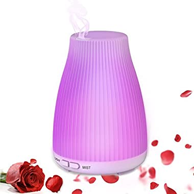 Neloodony Aromatherapy Essential Oil Diffuser 100mL Diffusers For Essential Oils, Ultrasonic Cool Mist Diffuser With 8 Colors LED Light and Waterless Auto Shut-off For Bedroom Office Study Baby Home