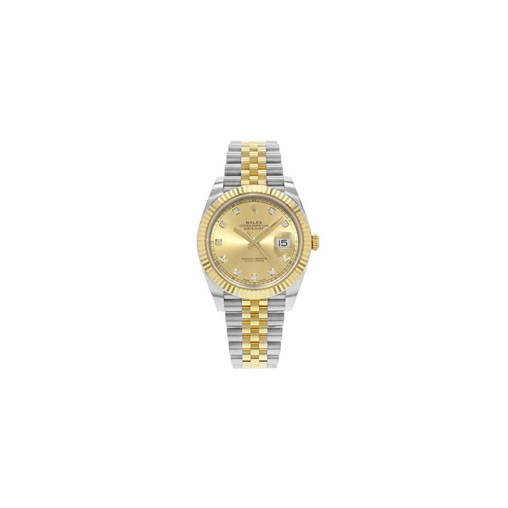 Fashion Shopping Rolex Datejust 41 Champagne Diamond Steel and 18K Yellow Gold Jubilee Men's Watch 126333CDJ