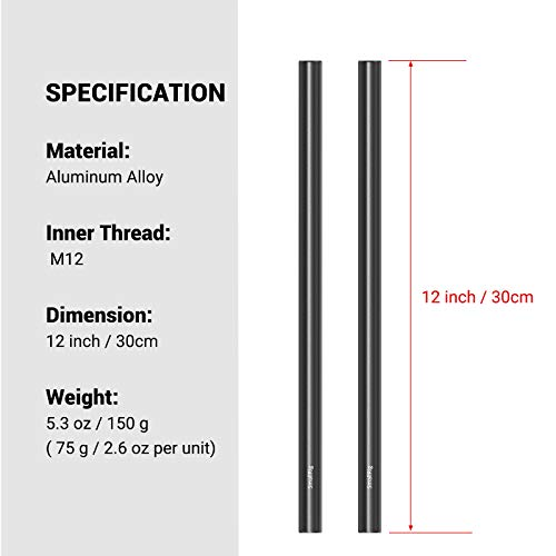 SMALLRIG 12 Inches (30 cm) Aluminum Alloy 15mm Rod with M12 Female Thread, Pack of 2 – 1053