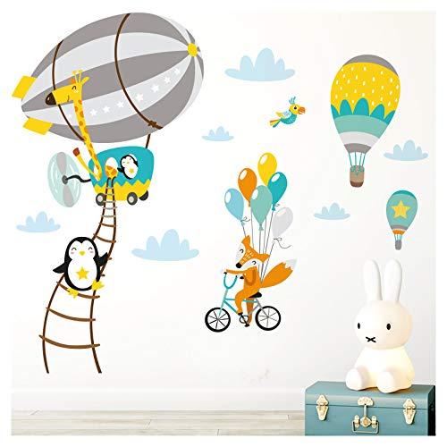 Little Deco Aufkleber Kinderzimmer Zoo Tiere im Zeppelin I 118 x 66 cm (BxH) I Wandbilder Wandtattoo Jungen Tiere Deko Jungs Babyzimmer Junge Sticker DL206-19