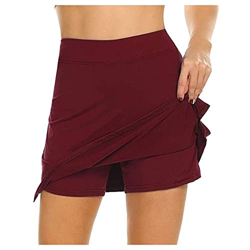LowProfile Tennis Skorts for Women Summer, 2 in 1 Golf Skirts with Shorts Workout Running Yoga Skort Gym Activewear,a141 Wine