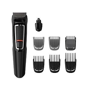 Philips MG3730/15 Recortadora para barba y pelo, 8 en 1, accesorios para nariz y orejas, cortapelos cara, y cabeza, 60 minutos de autonomía, Negro