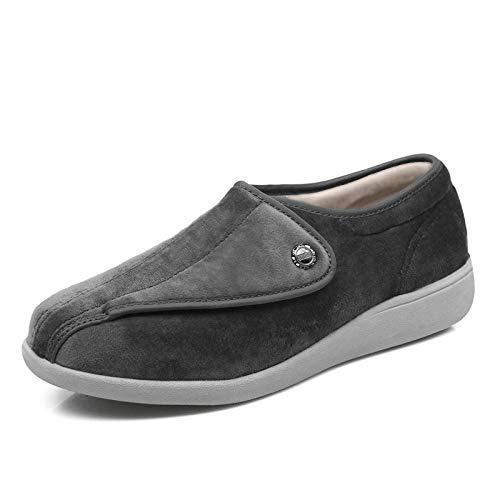 QFYD FDEYL Zapatillas de Estar por casa,Zapatos de Mediana Edad de Media Abertura, Zapatos de Lactancia multifuncionales con pies deformados-39_Gray,Zapatilla Diabéticos Posoperatorio Velcro Unisex